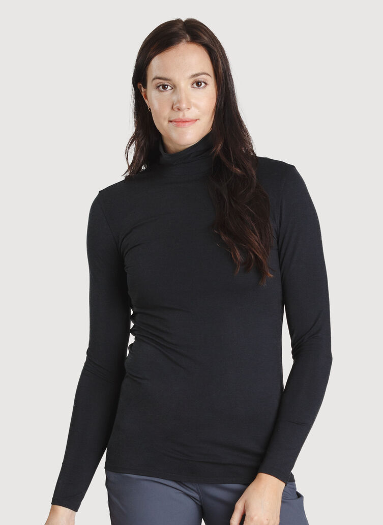 Kit Long Sleeve Turtleneck, Black | Kit and Ace