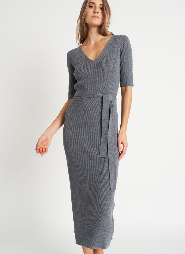 Dreamy Merino Dress, Heather Grey | Kit and Ace