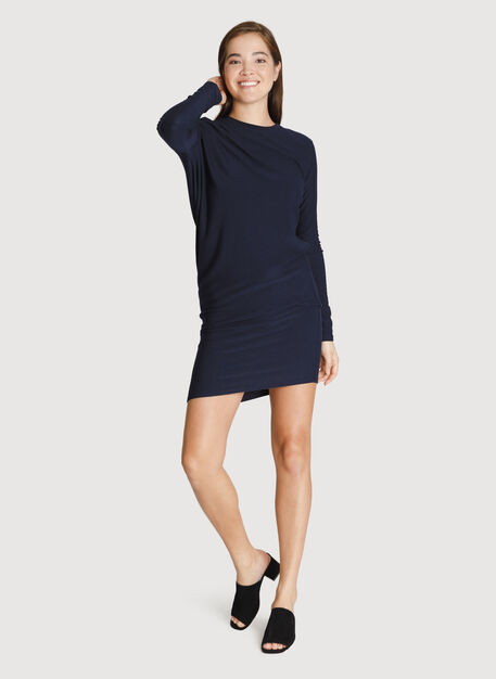 Brushed Wave Dress Long Sleeve, DK Navy | Kit and Ace