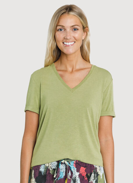 Kit Tech Jersey V Tee Relaxed Fit, HTHR Sweet Grass | Kit and Ace
