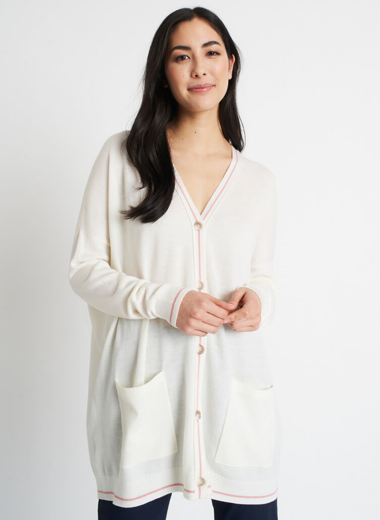 Travel On Merino Cardigan, Ivory/Jasper Pink | Kit and Ace