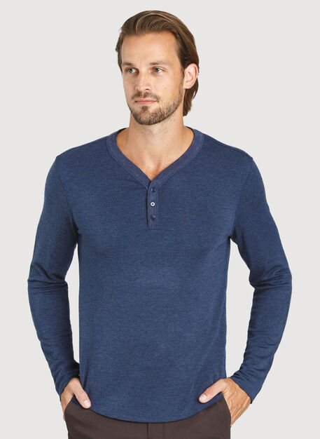 First Class Henley Tee, Heather Dark Navy | Kit and Ace