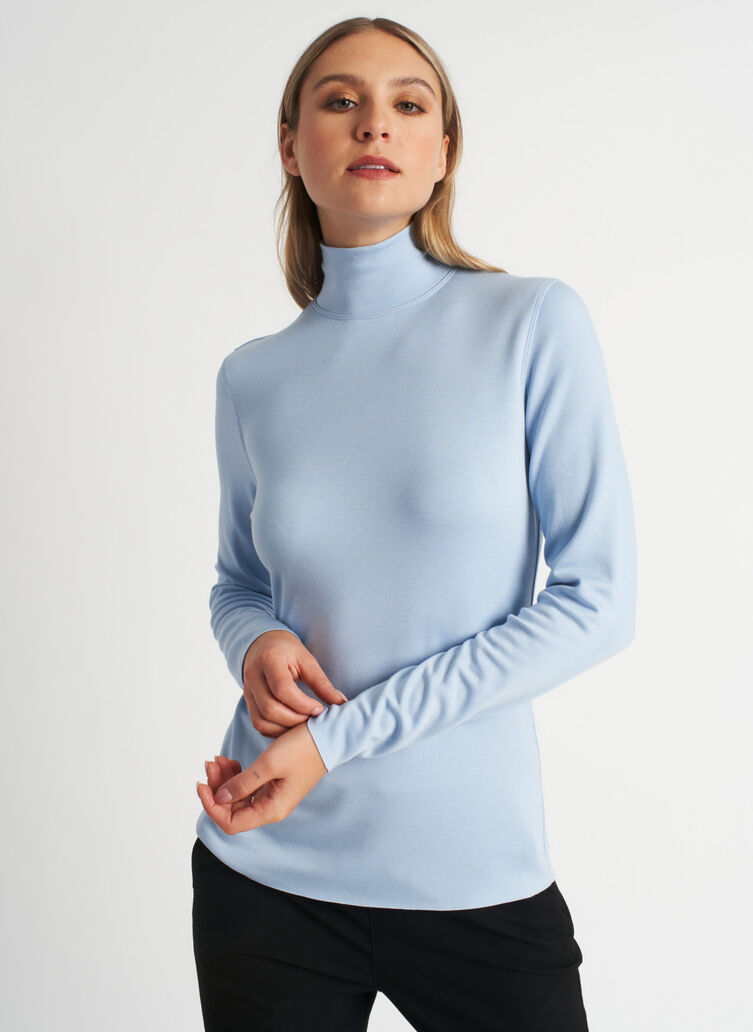 Upgrade Brushed Turtleneck, Heather Celestial Blue | Kit and Ace