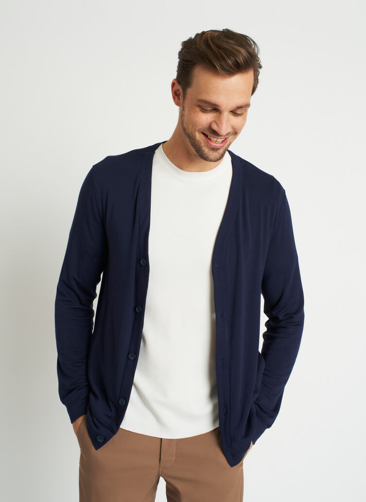 Chillin Brushed Cardigan, Dark Navy | Kit and Ace