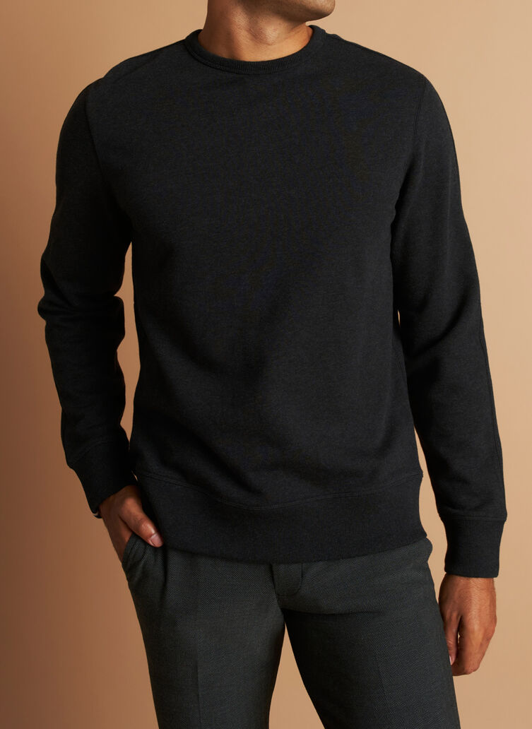 West Coast Crewneck Pullover, Heather Black | Kit and Ace
