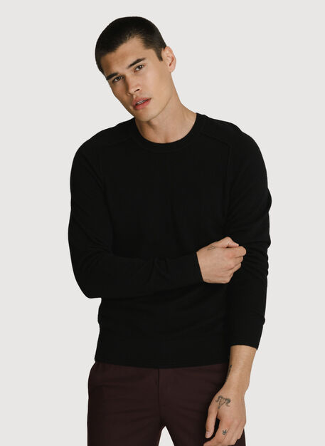 Cashmere Crew Pullover, Ebony | Kit and Ace
