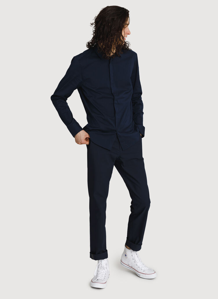 Crosstown Stretch Button Up, DK Navy | Kit and Ace