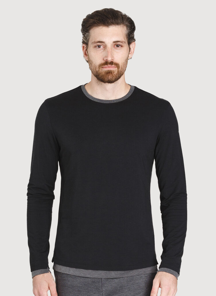 Ace Reversible Long Sleeve Tee, BLACK/HTHR CHARCOAL | Kit and Ace