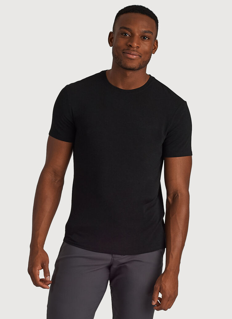 Ace Tech Jersey Crew Tee Standard Fit, HTHR Black | Kit and Ace
