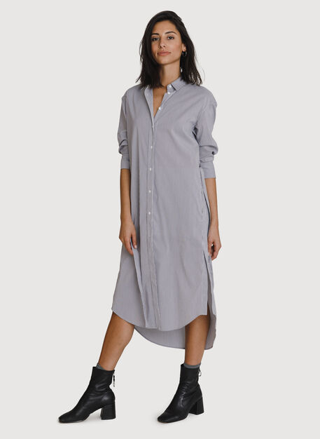 Studio Stretch Shirt Dress, MICRO SHIRTING STRP/PLUM | Kit and Ace