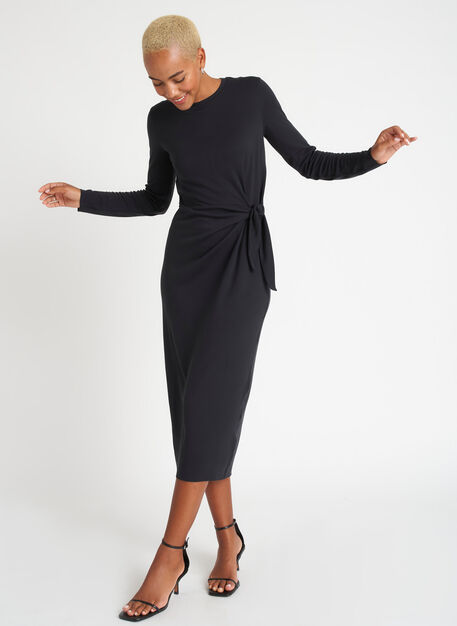 Brushed Tie Dress Long Sleeve, Black | Kit and Ace