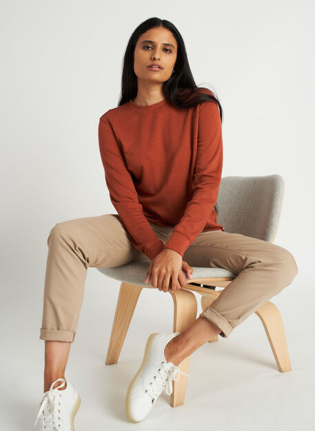 Weekend Pullover, Heather Brick | Kit and Ace