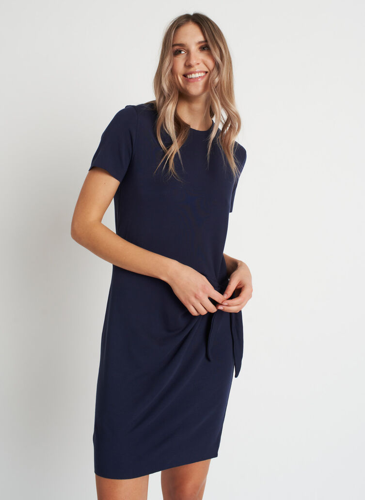 Brushed Tie Dress, Dark Navy | Kit and Ace