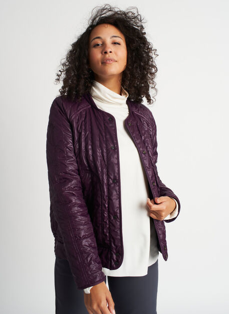 Keep Pedalling Reversible Bomber Jacket, Plum/Shiny Plum | Kit and Ace
