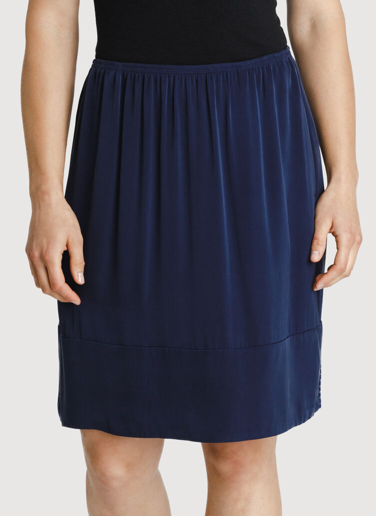 Bike to Office Silk Skirt, Dark Navy | Kit and Ace