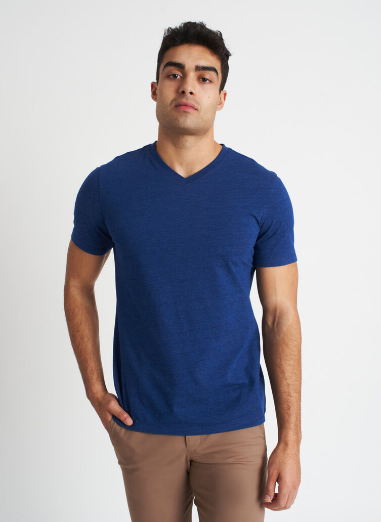 Ace Pima V-Neck Tee, Heather Deep Blue | Kit and Ace