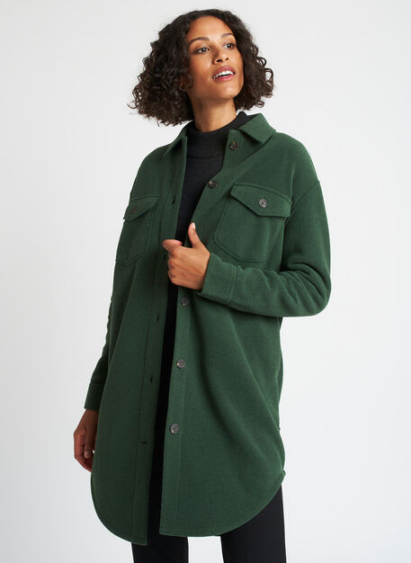 Hygge Fleece Long Shirt Jacket, Heather Forest | Kit and Ace