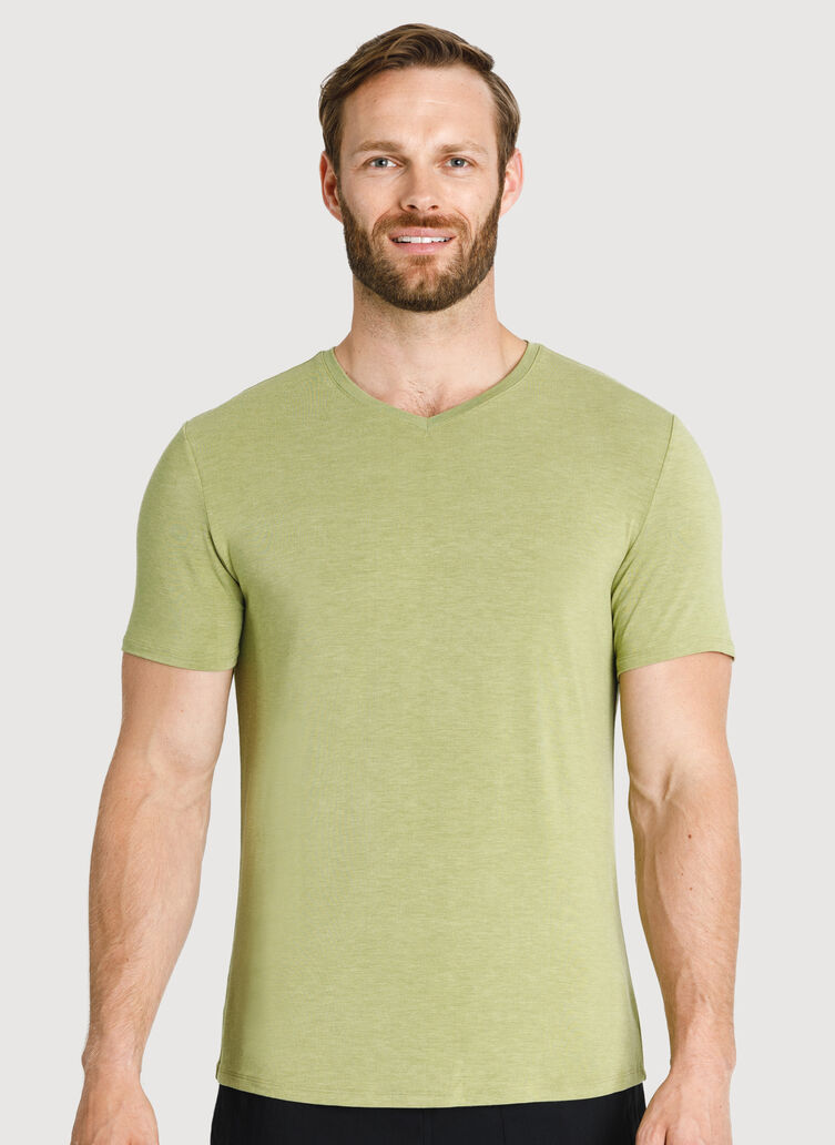 Ace Tech Jersey V-Neck Tee Standard Fit, HTHR Sweet Grass | Kit and Ace
