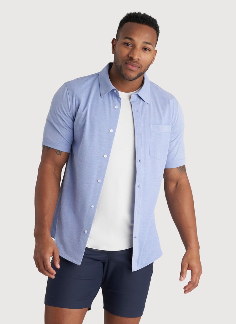 City Tech Classic Short Sleeve Shirt, Ocean Chambray | Kit and Ace