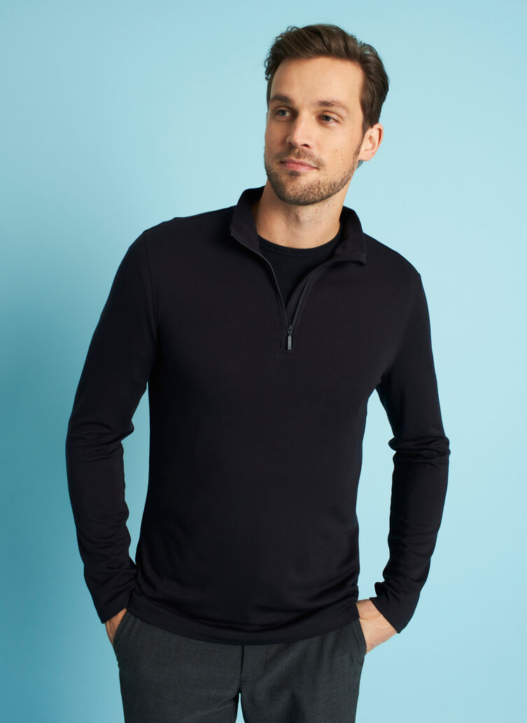 Comfy Brushed Quarter Zip Pullover, Black | Kit and Ace