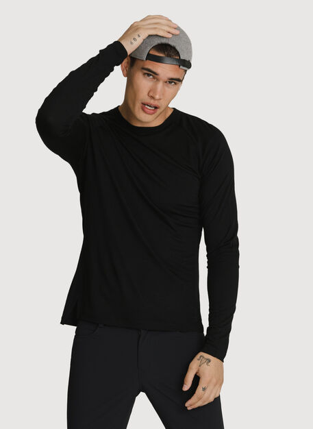 Washable Merino Long Sleeve Crew, BLACK | Kit and Ace