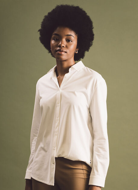 O.T.M. Pleated Button Up, Bright White | Kit and Ace