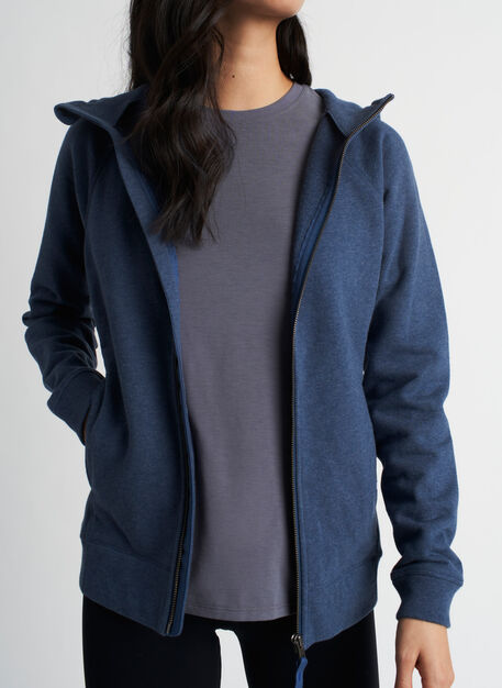 Coastal Zip Up Hoodie, Heather Dark Denim | Kit and Ace