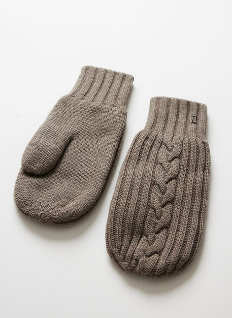 Cableknit Merino Mitten, Heather Taupe | Kit and Ace