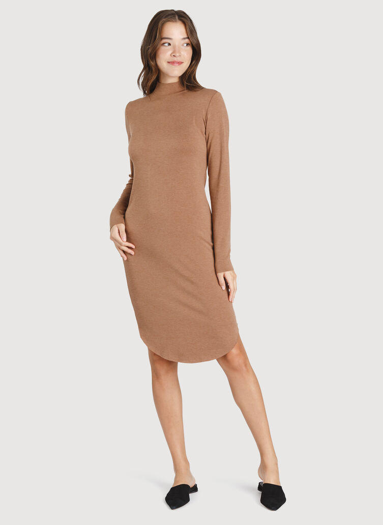Good Feels Mock Neck Dress, Heather Toffee | Kit and Ace