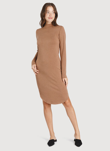 Good Feels Mock Neck Dress, HTHR Toffee | Kit and Ace