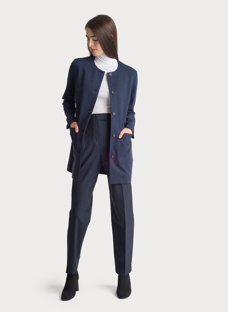 Collarless Stretch Jacket, HTHR DK Navy | Kit and Ace