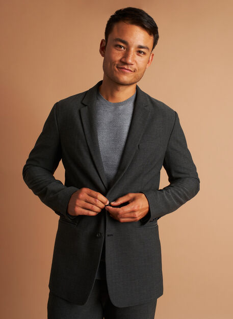 Recycled Suiting Blazer, HERRINGBONE Black/Charcoal | Kit and Ace