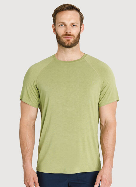 Ace Tech Jersey Crew Tee Relaxed Fit, HTHR Sweet Grass | Kit and Ace