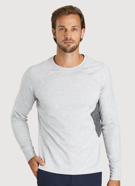 Side Storage Long Sleeve Tee, Heather Light Grey | Kit and Ace