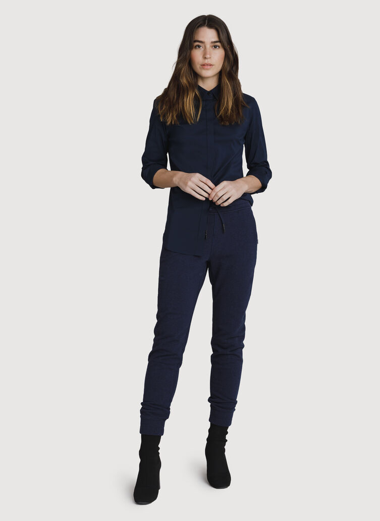 Stretch Tailored Blouse, DARK Navy | Kit and Ace