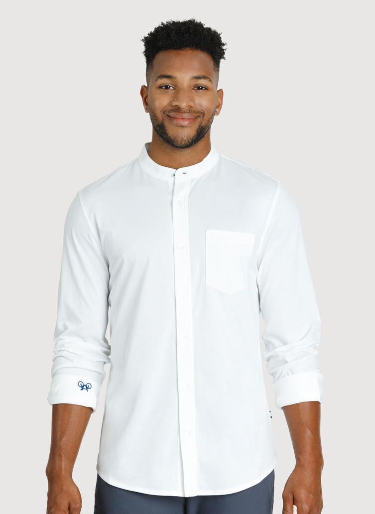 City Tech Collarless Shirt, Bright White | Kit and Ace