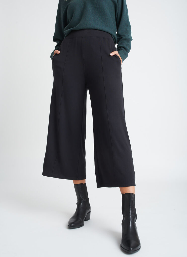 Brushed Lounge Cropped Pants, Black | Kit and Ace