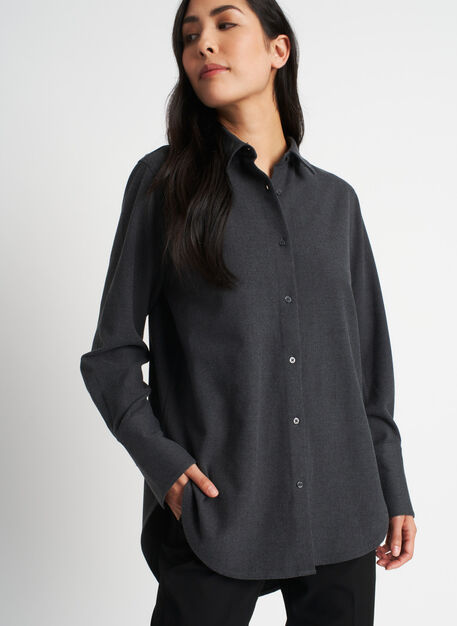 Here and There Button Up Shirt, Heather Charcoal | Kit and Ace