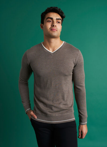 Handsome Merino Sweater, Heather Taupe/Ivory | Kit and Ace