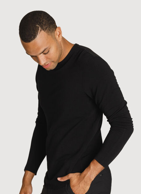 Raw Brushed Long Sleeve Crew Neck, BLACK | Kit and Ace