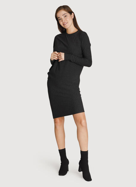 Brushed Wave Dress Long Sleeve, HTHR Charcoal | Kit and Ace