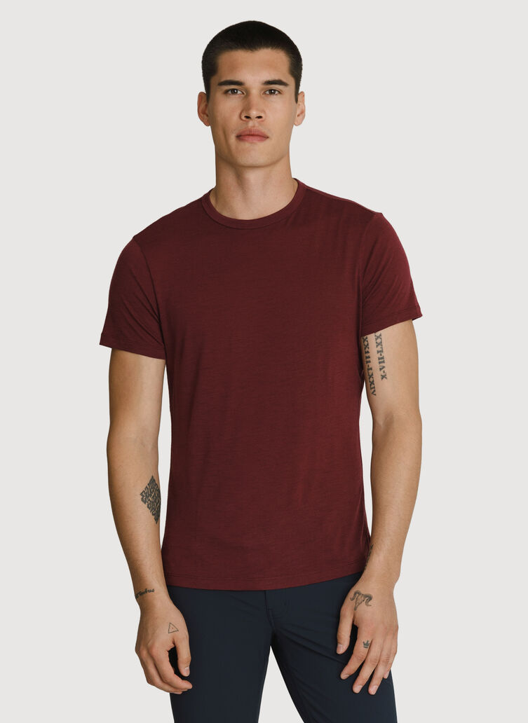 Washable Merino Short Sleeve Crew, Merlot | Kit and Ace