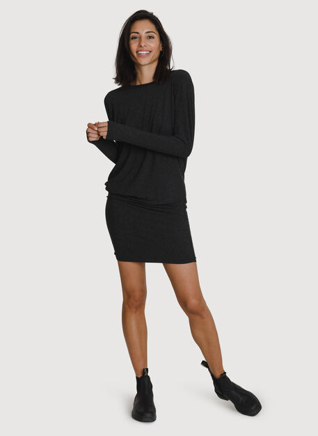 Wave Long Sleeve Dress, HTHR Charcoal | Kit and Ace