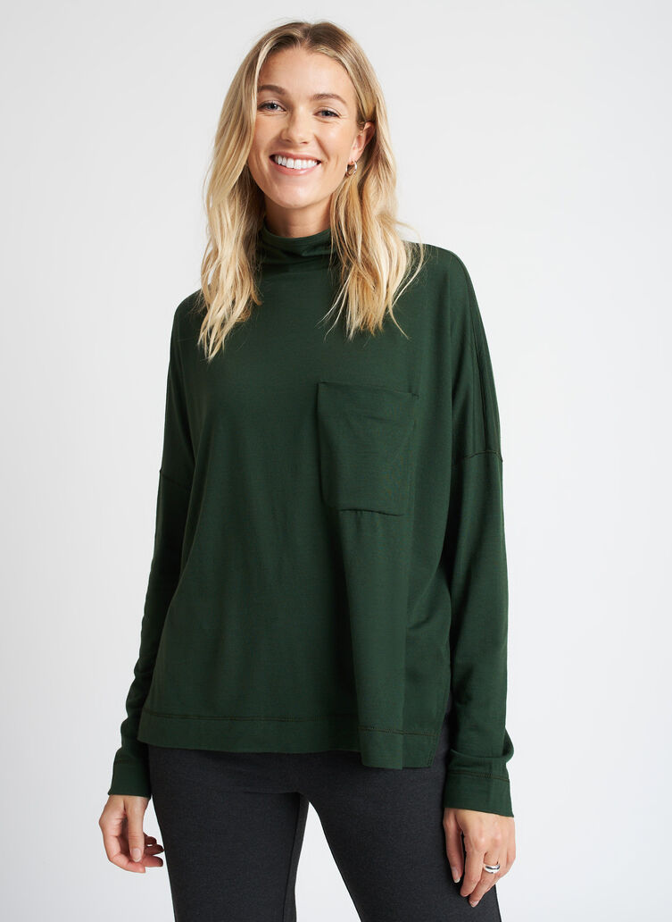 Merino Turtleneck Long Sleeve Tee, Forest | Kit and Ace