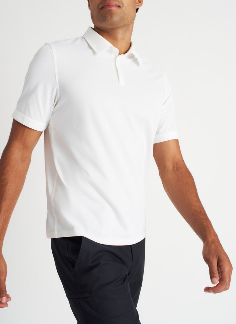 City Tech Polo Tee, Bright White | Kit and Ace