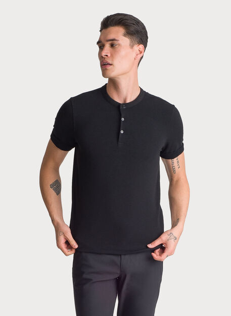 Brushed Henley Short Sleeve, BLACK | Kit and Ace