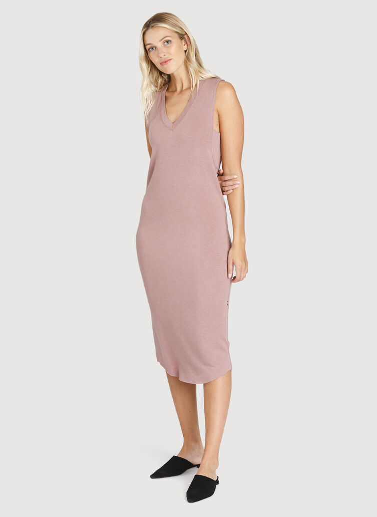 Good Feels Sleeveless Dress, Heather Fawn | Kit and Ace
