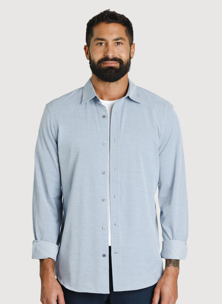 Court Stretch Long Sleeve, Dark Denim Chambray | Kit and Ace