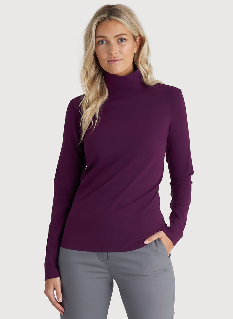 The Base Long Sleeve Turtleneck, Dark Plum | Kit and Ace