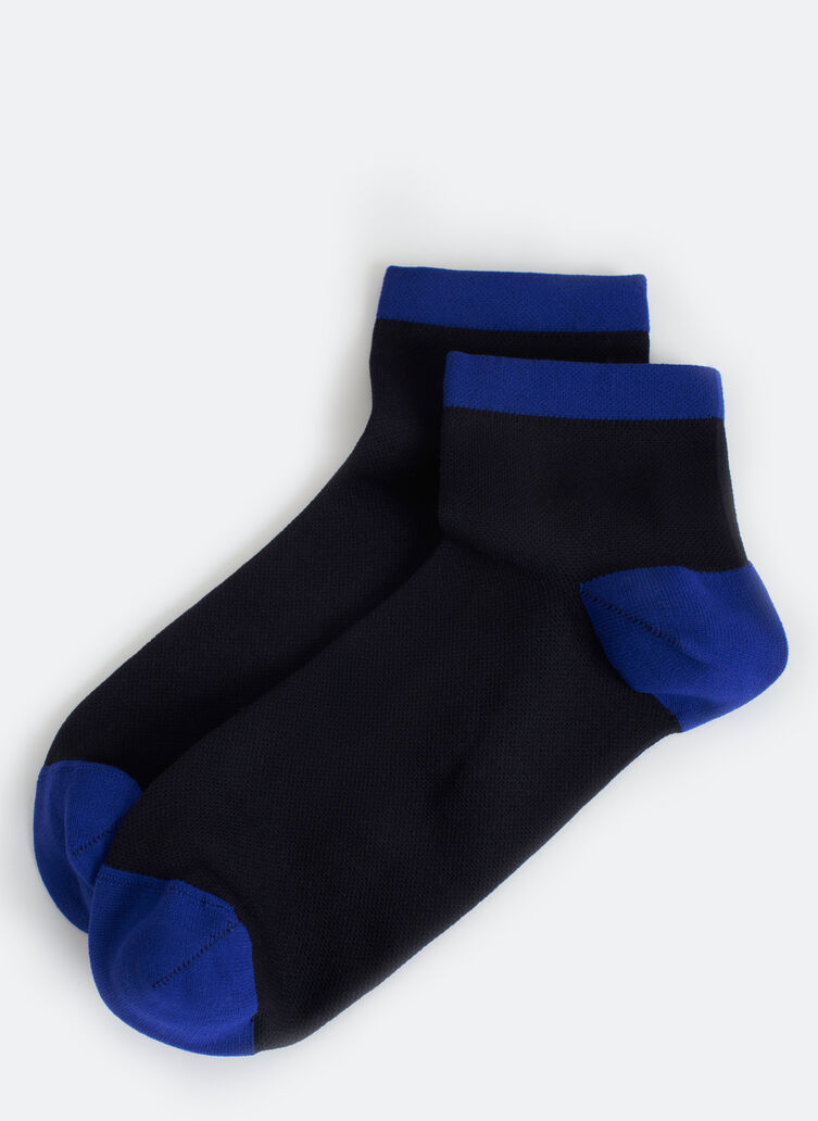 Motion 1/4 Crew Socks, BLACK/KITS BLUE | Kit and Ace